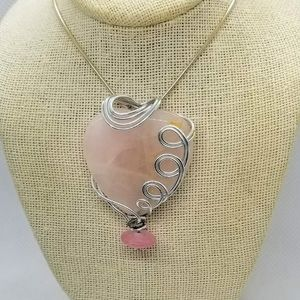 ROSE QUARTZ HEART NECKLACE WITH Silver wired